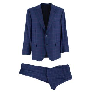 Donato Liguori Check Blue 2-Piece Single Breasted Hand Tailored Suit