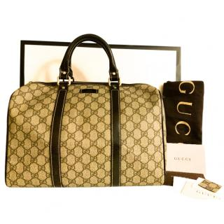 Gucci Black Monogram Supreme Boston Bag