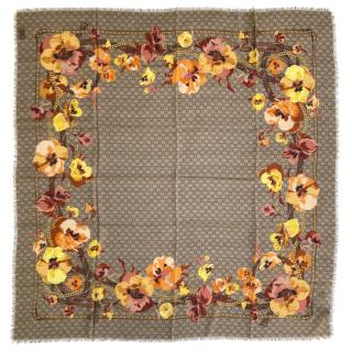 Gucci Supreme Monogram Oshibana Flowers Scarf
