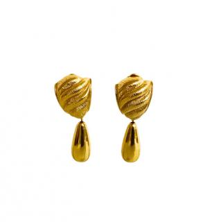 Givenchy Vintage Gold Tone Clip-on Earrings