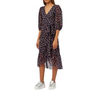Ganni Tilden Mesh Short Wrap Dress