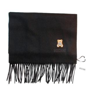 Moschino Black Merino Wool Teddy Scarf