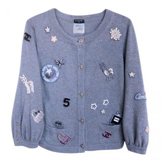 Chanel Grey Cashmere Lucky Charms Cardigan