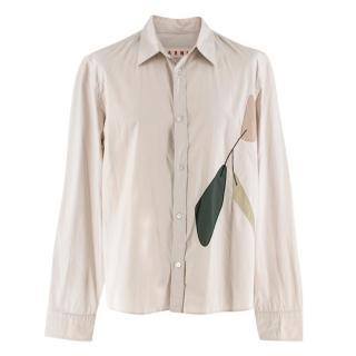 Marni Beige Leaf Embroidered Buttoned Shirt