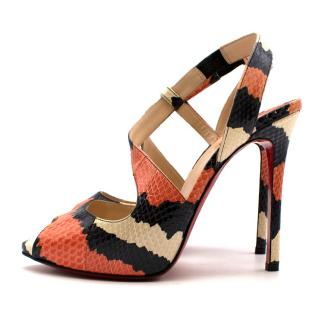 Christian Louboutin Orange/Black/White Snakeskin Heels