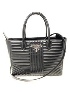 Prada Black Leather Diagramme Tote Bag