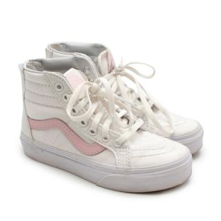 Vans White and Pink High Top Zipped Trainers
