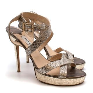 Jimmy Choo Metallic Vamp Strappy Sandals