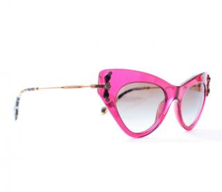 Miu Miu Pink Crystal Cat-Eye Sunglasses