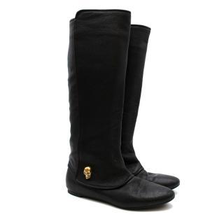 Alexander McQueen Skull Detail Black Leather Flat Boots