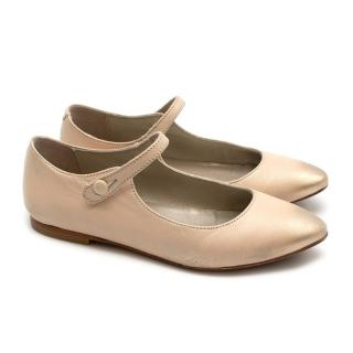 Bonpoint Vanilla Caprin Leather Mary-Jane Shoes
