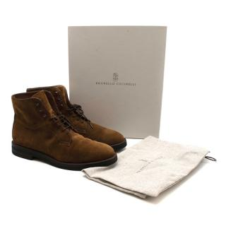 Brunello Cucinelli Brown Suede Lace-up Ankle Boots