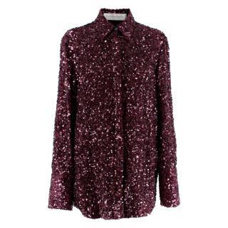 Victoria Victoria Beckham Burgundy All-Over Sequin Shirt