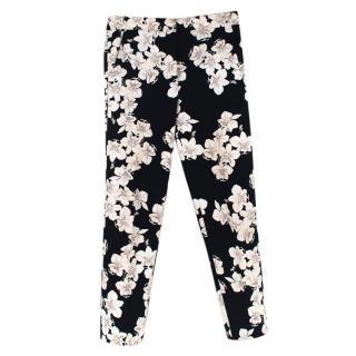 ERDEM Gianna Hibiya Orchid-Print Straight Leg Trousers
