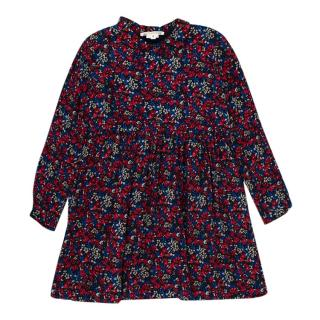 Bonpoint Red & Blue Floral Print Long Sleeve Dress