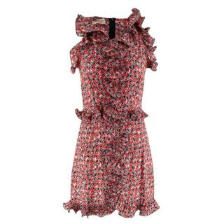 Marni Red with Floral Pattern Ruffle Trim Dress