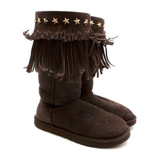 Ugg x Jimmy Choo Brown Suede Fringed Star Studded Boots