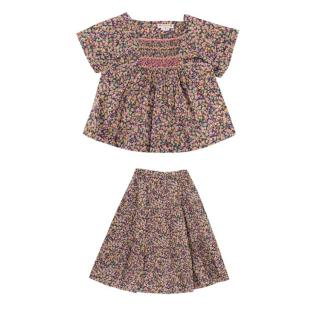 Bonpoint Green/Pink Floral Blouse & Skirt