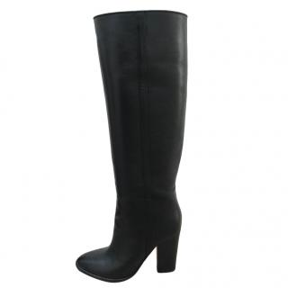 Club Monaco Black Smooth Leather Tall Boots