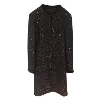 Andrew GN Mink Trimmed Black Sequin Coat