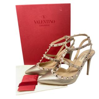 Valentino Metallic Gold Decollete Rockstud Sandals