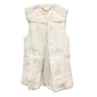 Elisabetta Franchi White Rabbit Fur Sleeveless Gilet