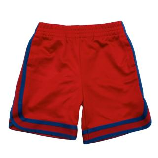 Gucci Red Sports Shorts with Striped Blue Trim