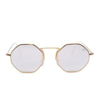 David Marc Gold Tone Hexagonal Mirrored Sunglasses