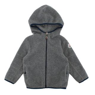 Moncler Grey Polar Jacket with Logo Patch