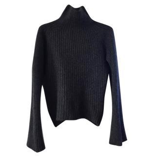 Gucci 100% Cashmere Grey Rib Knit Jumper.