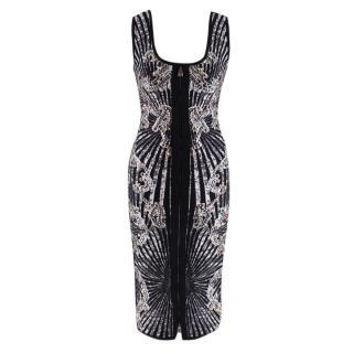 Herve Leger Black Studded Patterned Zip-Front Dress