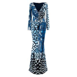 Roberto Cavalli Blue Contrast Animal Print Maxi Dress