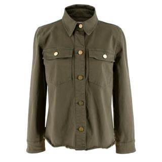 Frame Khaki Denim Gold Buttoned Western Style Overshirt