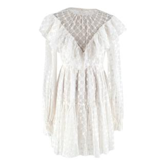 Milly White Long Sleeved Lace Frill Dress