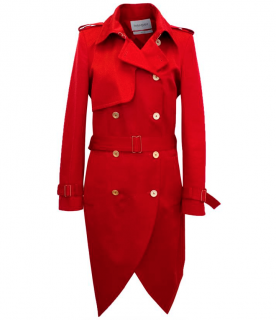 Yves Saint Laurent Red Trench Coat with Gold Details