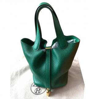 Hermes Clemence Leather Vert Vertigo Picotin Lock 18