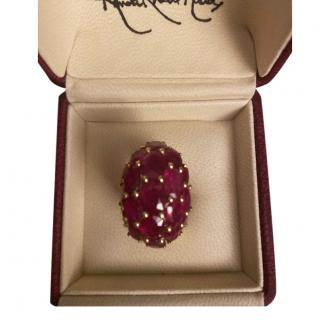 Randel Yellow Gold Ruby Cluster Dress Ring