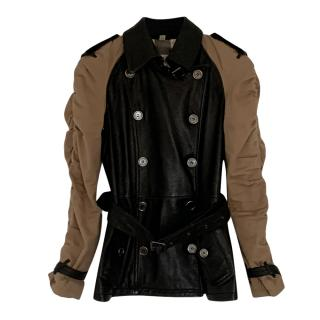 Burberry Brit Black Leather Jacket with Ruched Sleeves