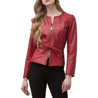 Luisa Spagnoli red nappa leather jacket