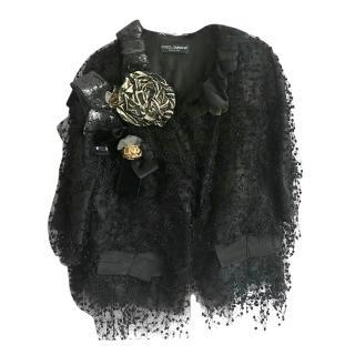 Dolce & Gabbana Black Lace Embellished Jacket