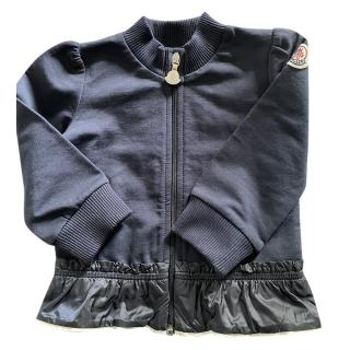 Moncler Kids Navy Knit Peplum Jacket