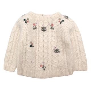 Bonpoint Ivory Wool & Alpaca Sweater with Floral Embroidery
