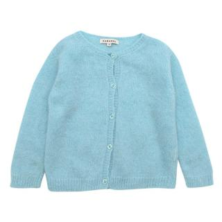 Caramel Blue Alpaca Wool Blend Buttoned Cardigan