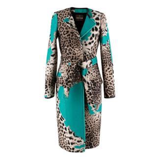 Roberto Cavalli Wool Blend Leopard Teal Longline Coat