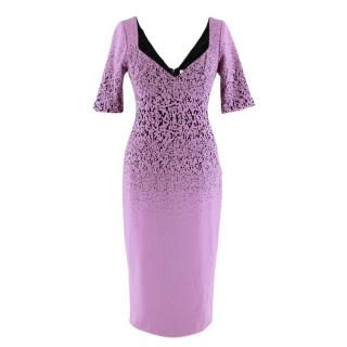 Prabal Gurung Lilac Speckled Fitted Midi Dress