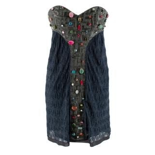 Missoni Blue Beaded Lurex Knit Strapless Mini Dress