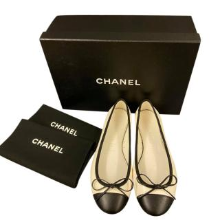Chanel Two Tone Patent Ballerina Flats