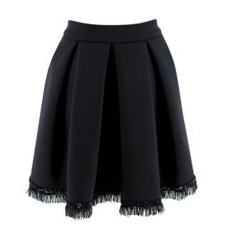 Maje Black Neoprene Beaded Trim Midi Skater Skirt
