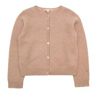 Bonpoint Pink Lurex Knitted Cardigan