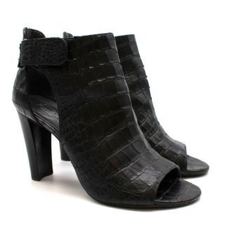 Russell & Bromley Black Python Peep-Toe Block Heel Boots